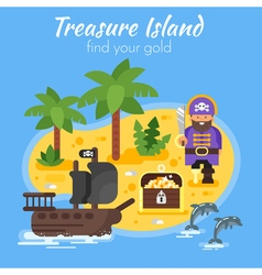 flat style of pirate ship island vector image