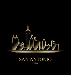 gold silhouette of san antonio on black background vector image
