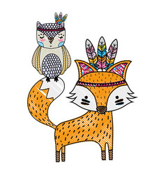 Grated owl and fox animals with feathers design vector