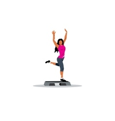 Healthy lifestyle sign A young girl on step board vector image vector image
