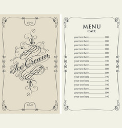Ice cream menu for cafe with price list vector