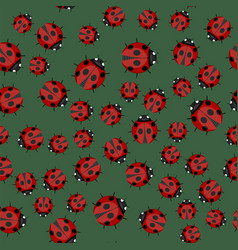 ladybag seamless pattern on green background vector image