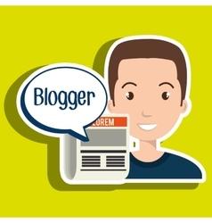 Man cartoon blogger web vector