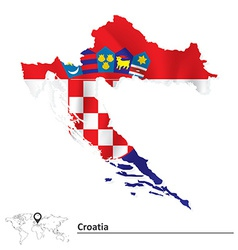Map of Croatia with flag vector image vector image