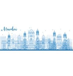Outline mumbai skyline with blue landmarks vector