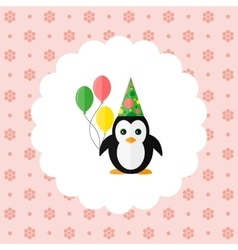 Penguin in the cap and with balloons vector image