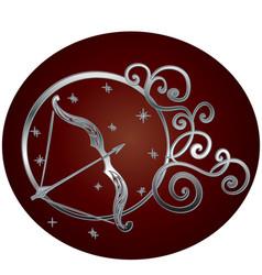 Sagittarius zodiac sign in circle frame vector