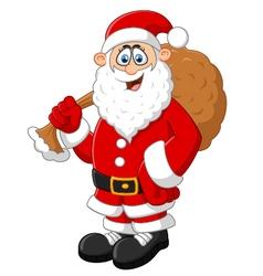 Santa holding sack vector