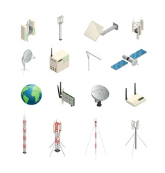 Wireless Communication Equipment Isometric Icons vector image vector image