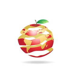 peeled apple earth vector image