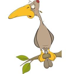 Cartoon woodpecker on a tree vector