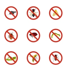 No insects icons set flat style vector