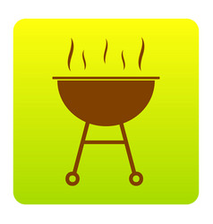 Barbecue simple sign  brown icon at green vector