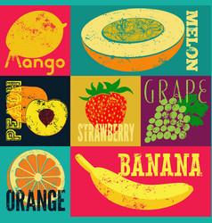 Pop art grunge style fruit poster set of fruits vector