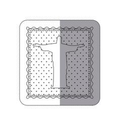 Sticker monochrome contour frame of christ vector