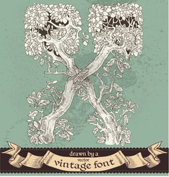 magic grunge forest hand drawn by vintage font - X vector image
