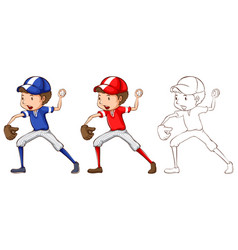 Doodle character for baseball player vector