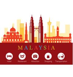 malaysia landmarks skyline with accommodation vector image