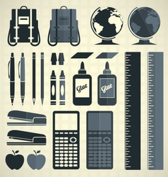 Back to school silhouette and icons vector