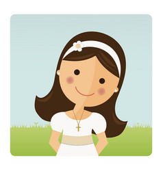 Foreground girl with communion dress on blue sky vector