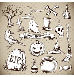 Set of doodles design halloween elements vector