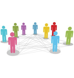 connect people business social network line connec vector image