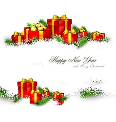 Background with heap of gift boxes vector