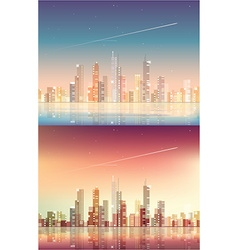Abstract and futuristic cityscape background vector image