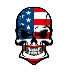 Danger skull with american flag pattern vector