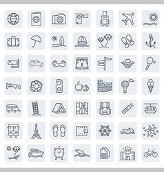 Travel line icon set vector