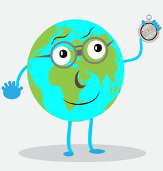 Character globe with compas vector