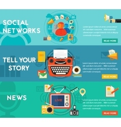 Tell your story news and social networking vector