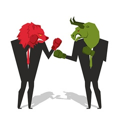 Bear and bull are boxing traders fight businessmen vector