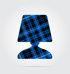 Blue black tartan icon - bedside table lamp vector