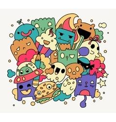 Bright funny doodles vector