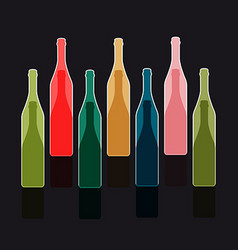 Colorful bottles silhouettes vector