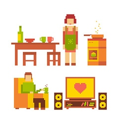 Colorful of woman and man happy family coupl vector