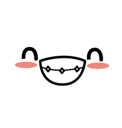 cute kawaii beautiful face smile and happy vector image vector image