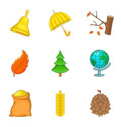 defoliation icons set cartoon style vector image vector image