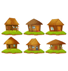 different designs of wooden cottages vector image vector image