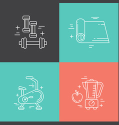 Fitness line icons vector