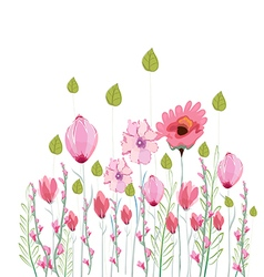 Flowers drawing watercolor vector