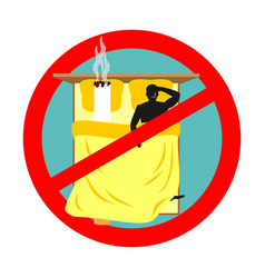 Forbidden to smoke in bed red sign prohibiting vector