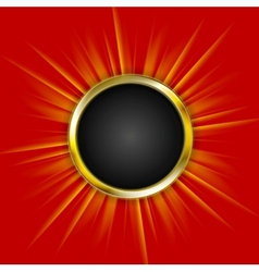 Golden circle and beams on red background vector