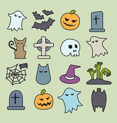 Halloween Isometric Icons Set vector image