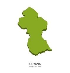 Isometric map of Guyana detailed vector image vector image