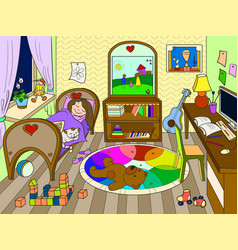 Kids on the theme of childhood room vector