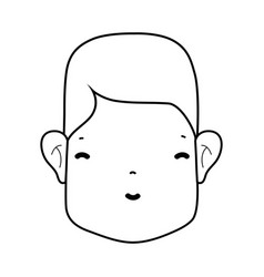 Line man head with face and hairstyle vector
