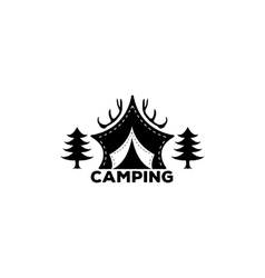 Logo Camping forest horns and tents for vector image