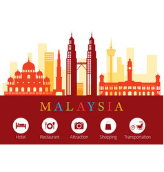 Malaysia landmarks skyline with accommodation vector
